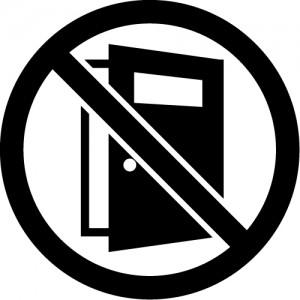 ドアの開放を注意・禁止するマークのカッティングステッカーシール