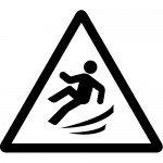 足元の滑り・横転注意標識のカッティングステッカーシール