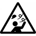 強風注意標識のカッティングステッカーシール