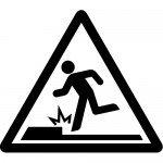 足元の段差注意標識のカッティングステッカーシール