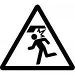 頭上注意標識のカッティングステッカーシール