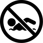 遊泳禁止マーク(遊泳禁止の文字付き)のカッティングステッカーシール