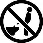 洋式便器での立小便禁止マークのカッティングステッカーシール