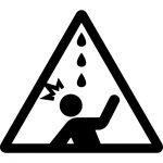 水漏れ・鳥フン注意マークのカッティングシートステッカー