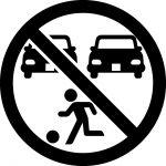 駐車場での遊び禁止マークのカッティングシートステッカー
