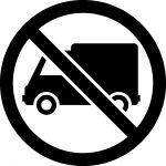 トラック禁止マークのカッティングシートステッカー