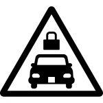 車の施錠・ロック注意マークのカッティングシートステッカー