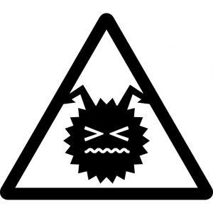 消毒注意マークのカッティングシートステッカー