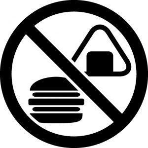 食事禁止マークのカッティングステッカーシール
