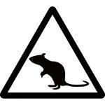 ネズミ注意マークのカッティングシートステッカー