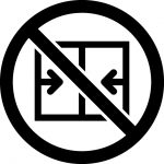 扉・窓開放禁止マークのカッティングシートステッカー