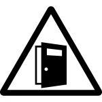 扉の開放注意マークのカッティングシートステッカー