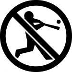 野球禁止マークのカッティングシートステッカー