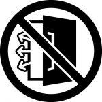 空調中扉開放禁止マークのカッティングシートステッカー