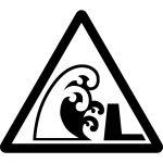 高波(防波堤有り)注意マークのカッティングシートステッカー