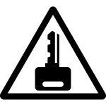 鍵かけ注意マークのカッティングシートステッカー