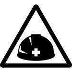 ヘルメット着用・落下物注意マークのカッティングシートステッカー