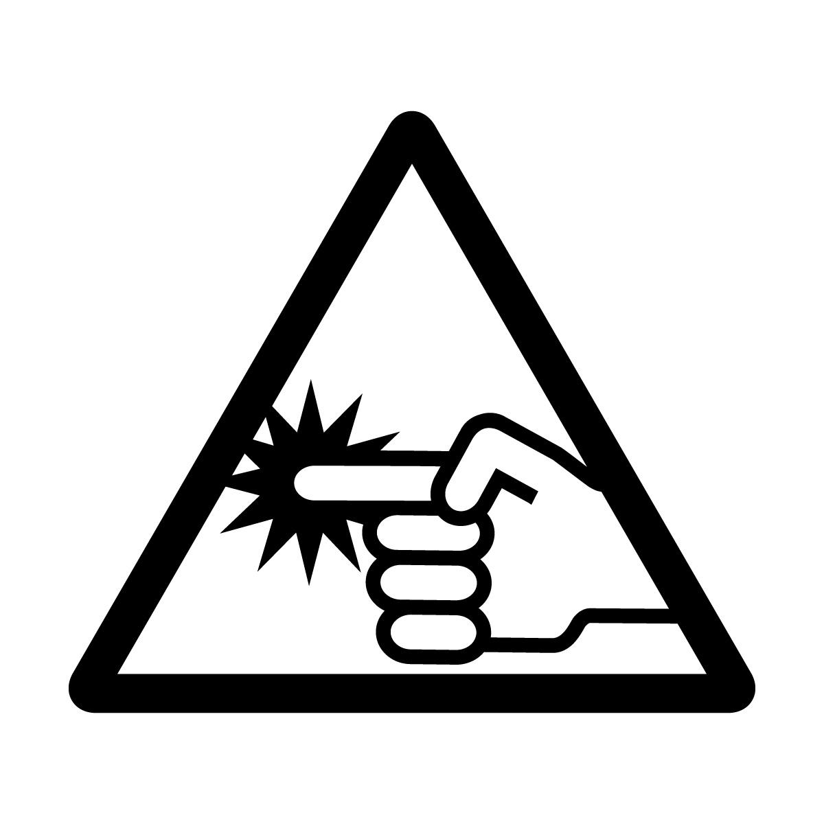 黒い指づめ・指挟み注意マークのカッティングシートステッカー・シール