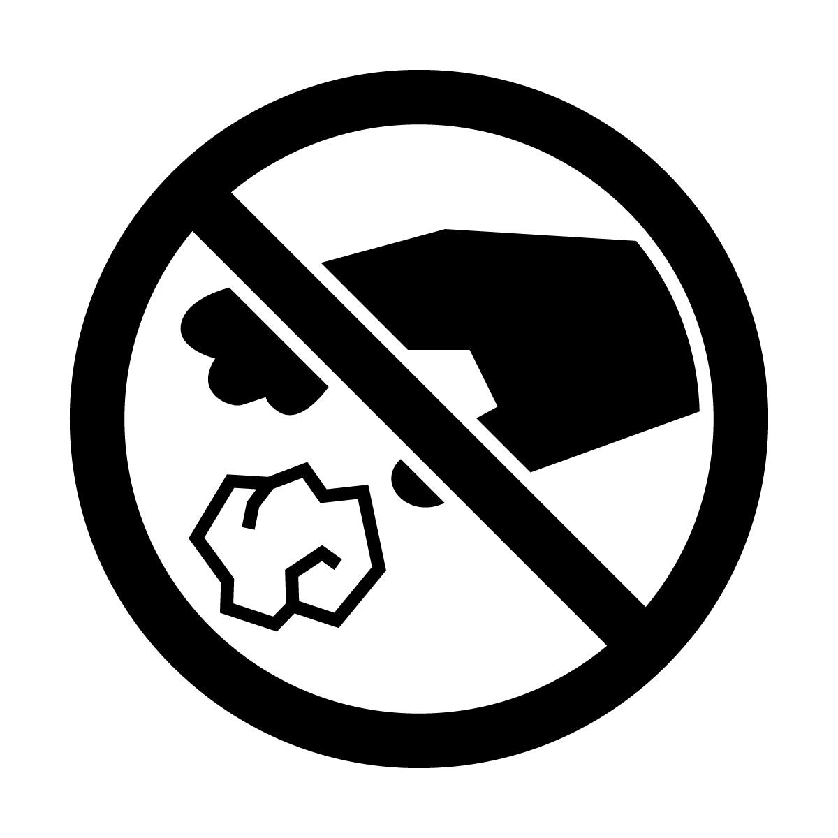 黒色のゴミのポイ捨て禁止マークのカッティングステッカー