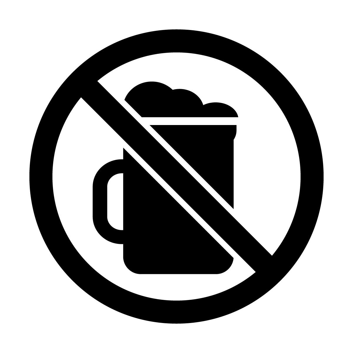 黒色のお酒・ビール禁止マークのカッティングシートステッカー