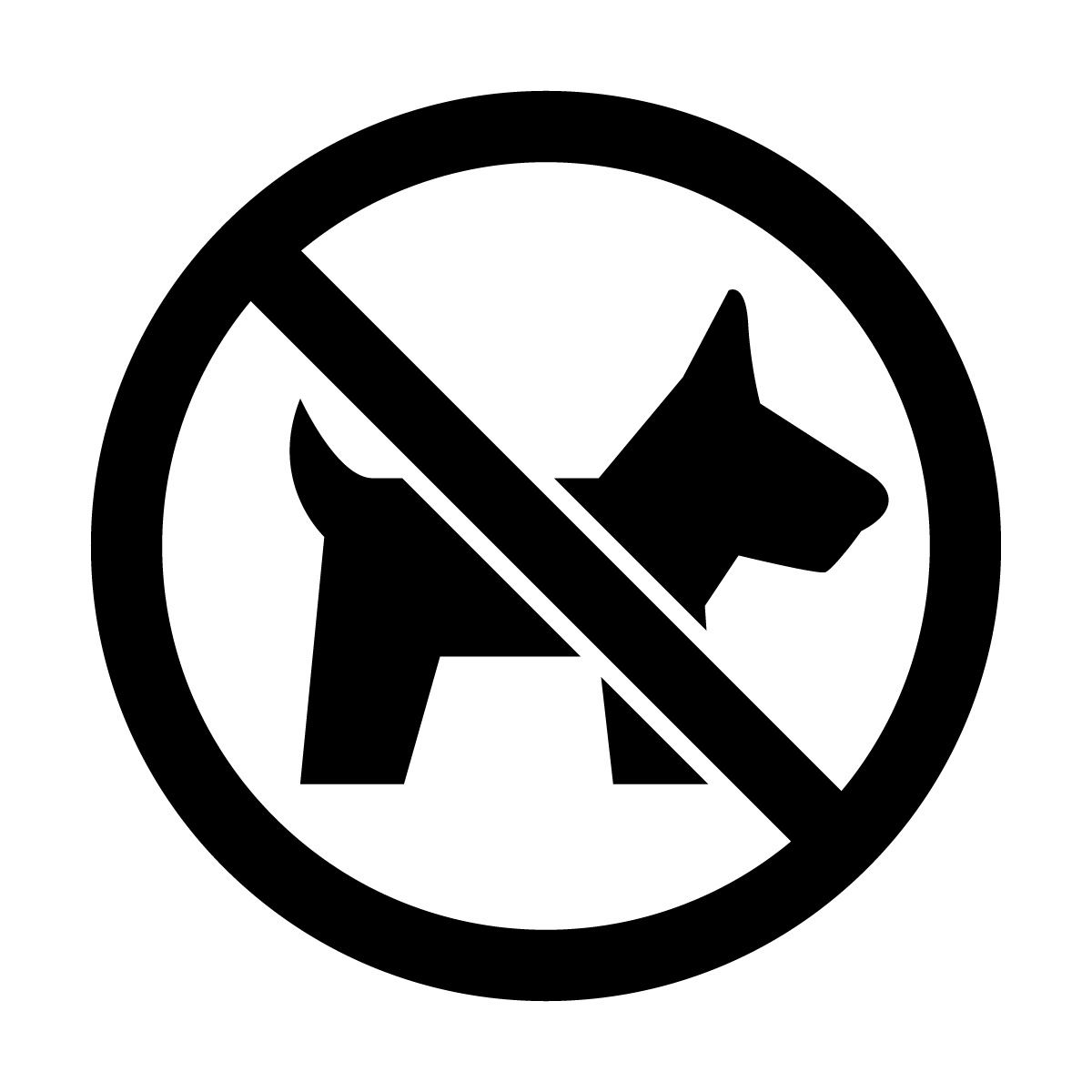 黒色のペット・動物の入店を禁止するマークのカッティングステッカーシール