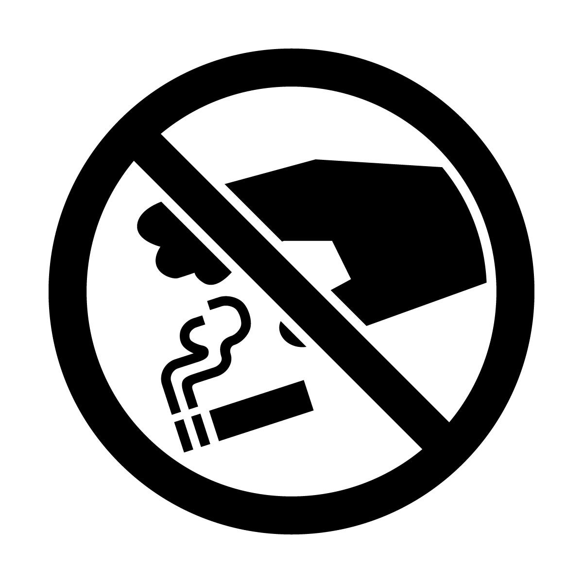 黒色のタバコのポイ捨て禁止マークのカッティングステッカー