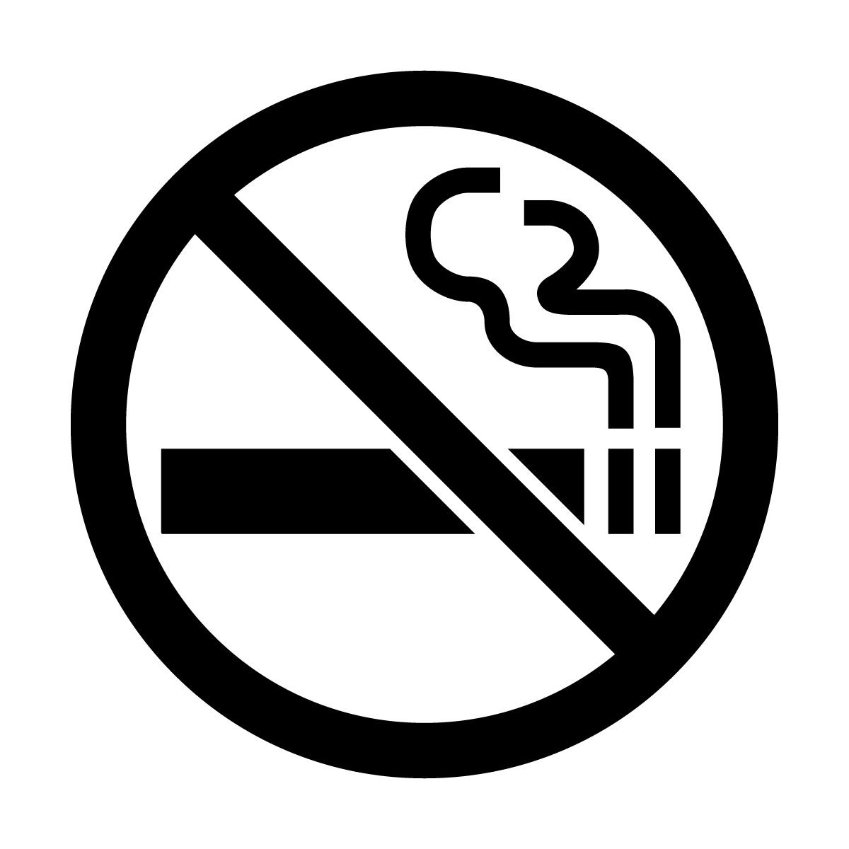 黒色の禁煙マークのカッティングステッカー