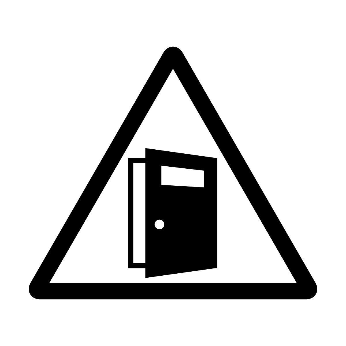 黒色の扉の開放注意マークのカッティングステッカー・シール