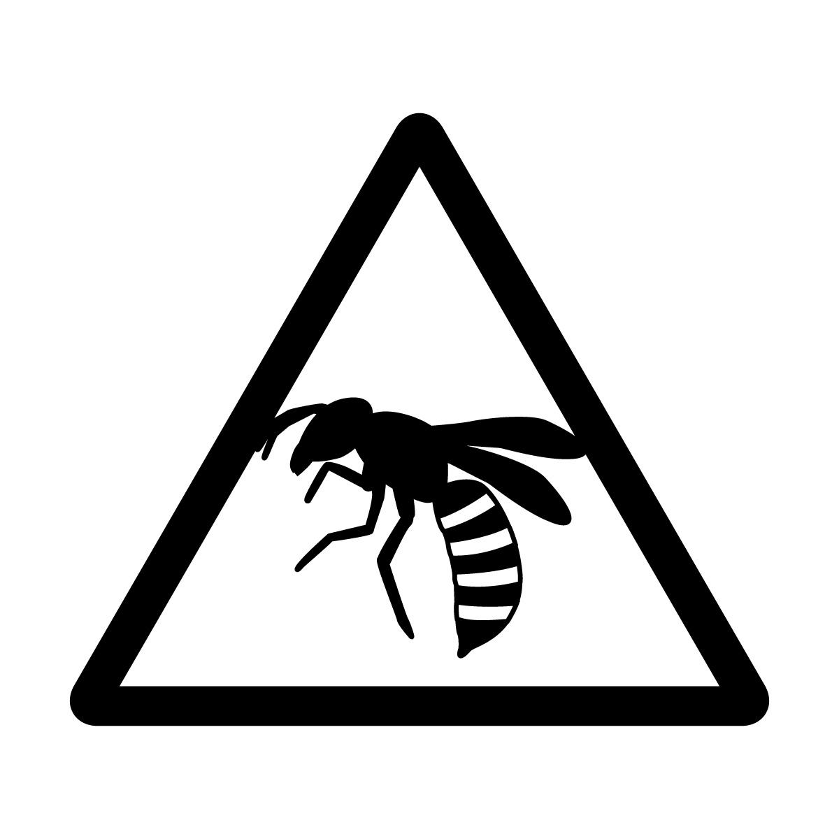 黒色の蜂注意マークのカッティングステッカー・シール
