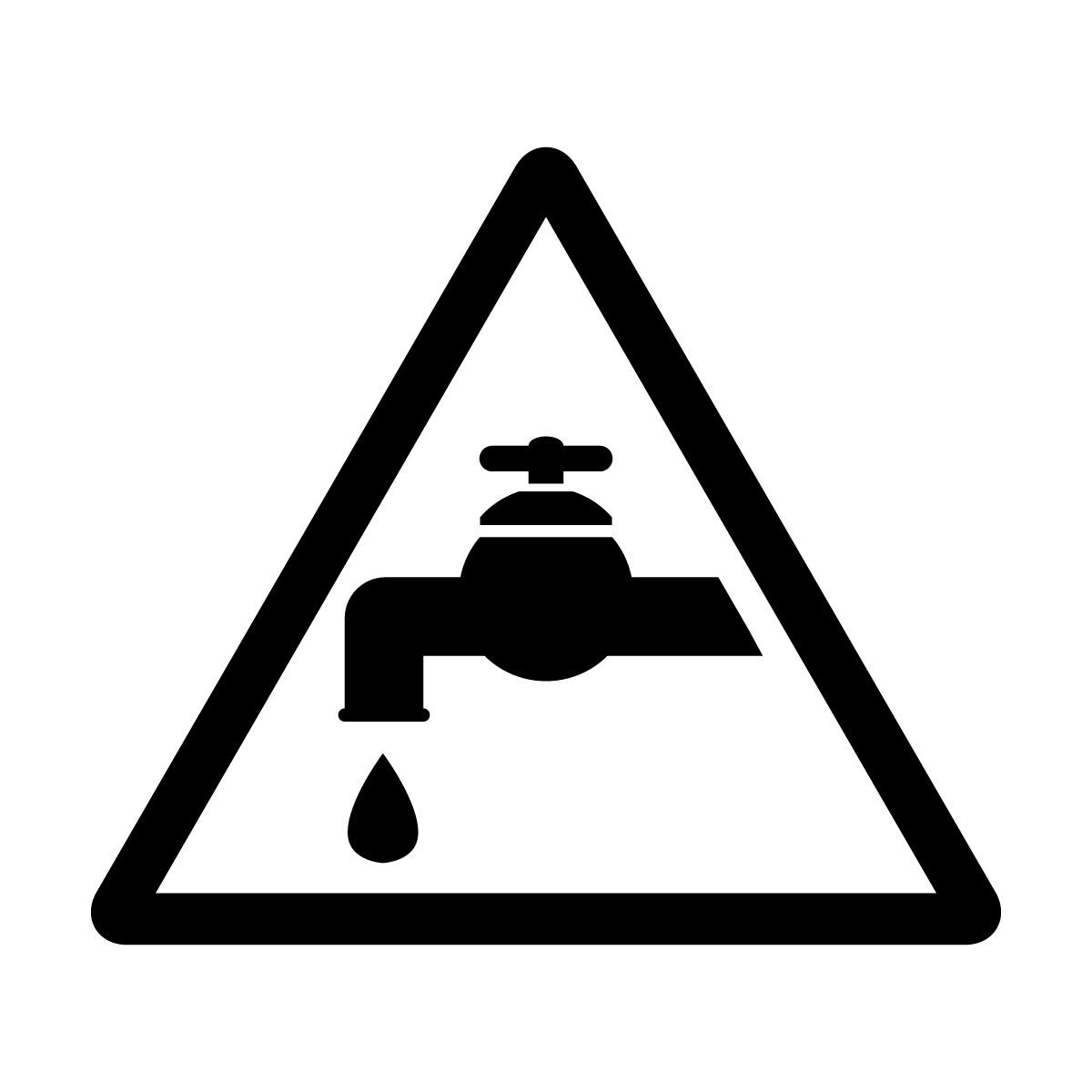 黒色の節水注意マークのカッティングステッカー・シール