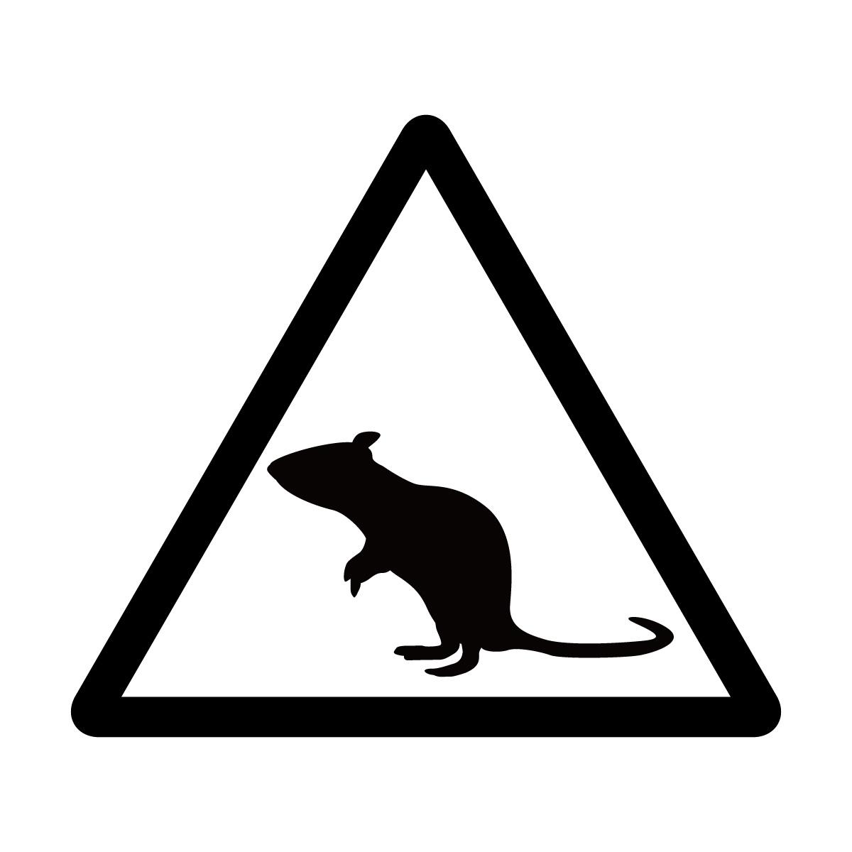 黒色のネズミ注意マークのカッティングステッカー・シール