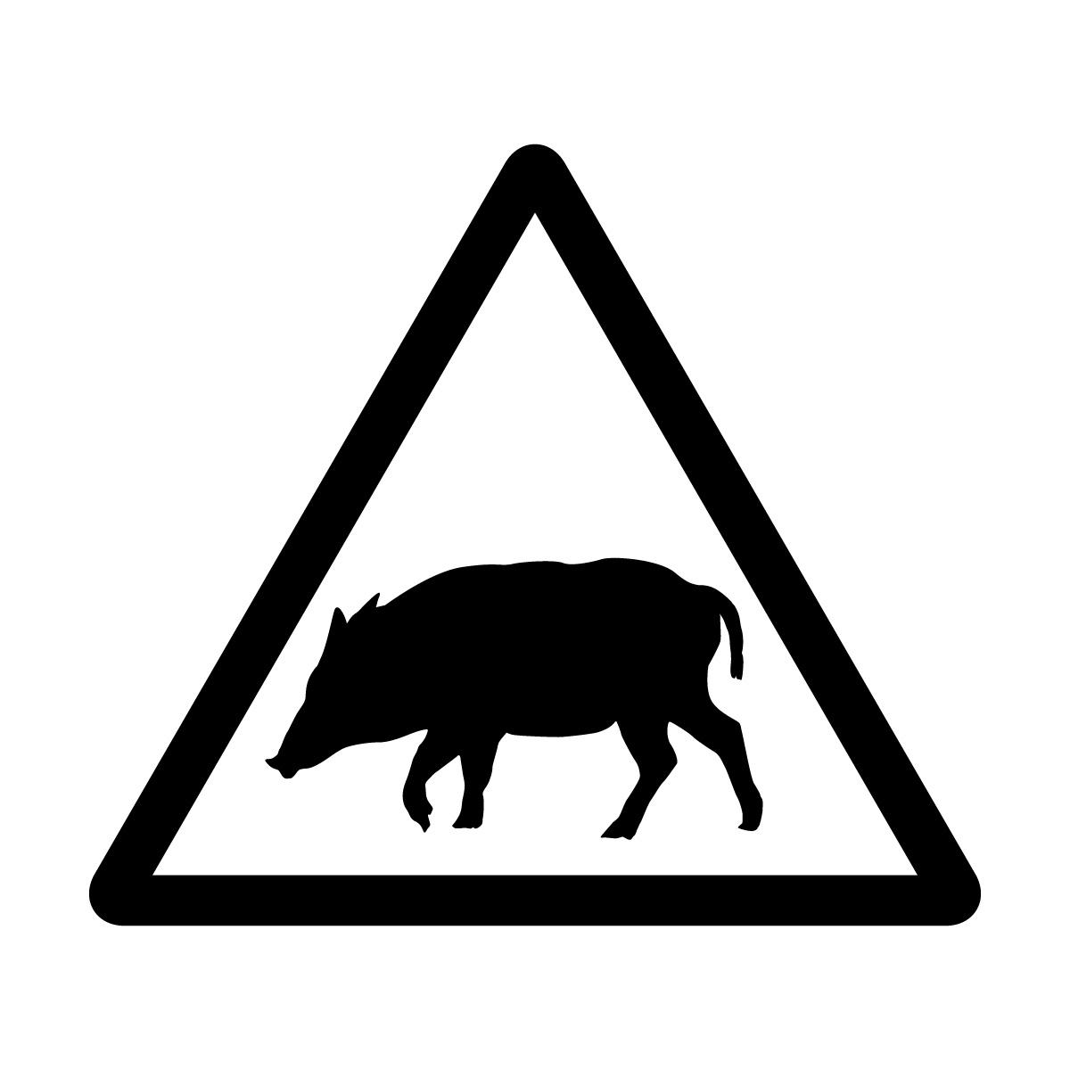 黒色の猪出没注意マークのカッティングステッカー・シール