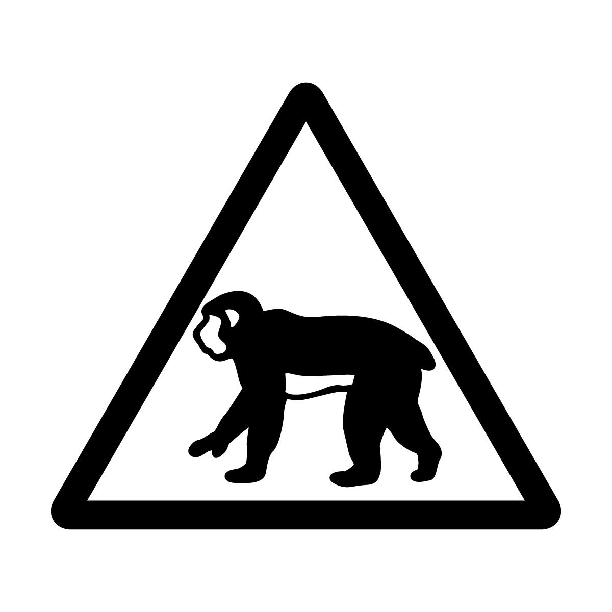 黒色の猿出没注意マークのカッティングステッカー・シール