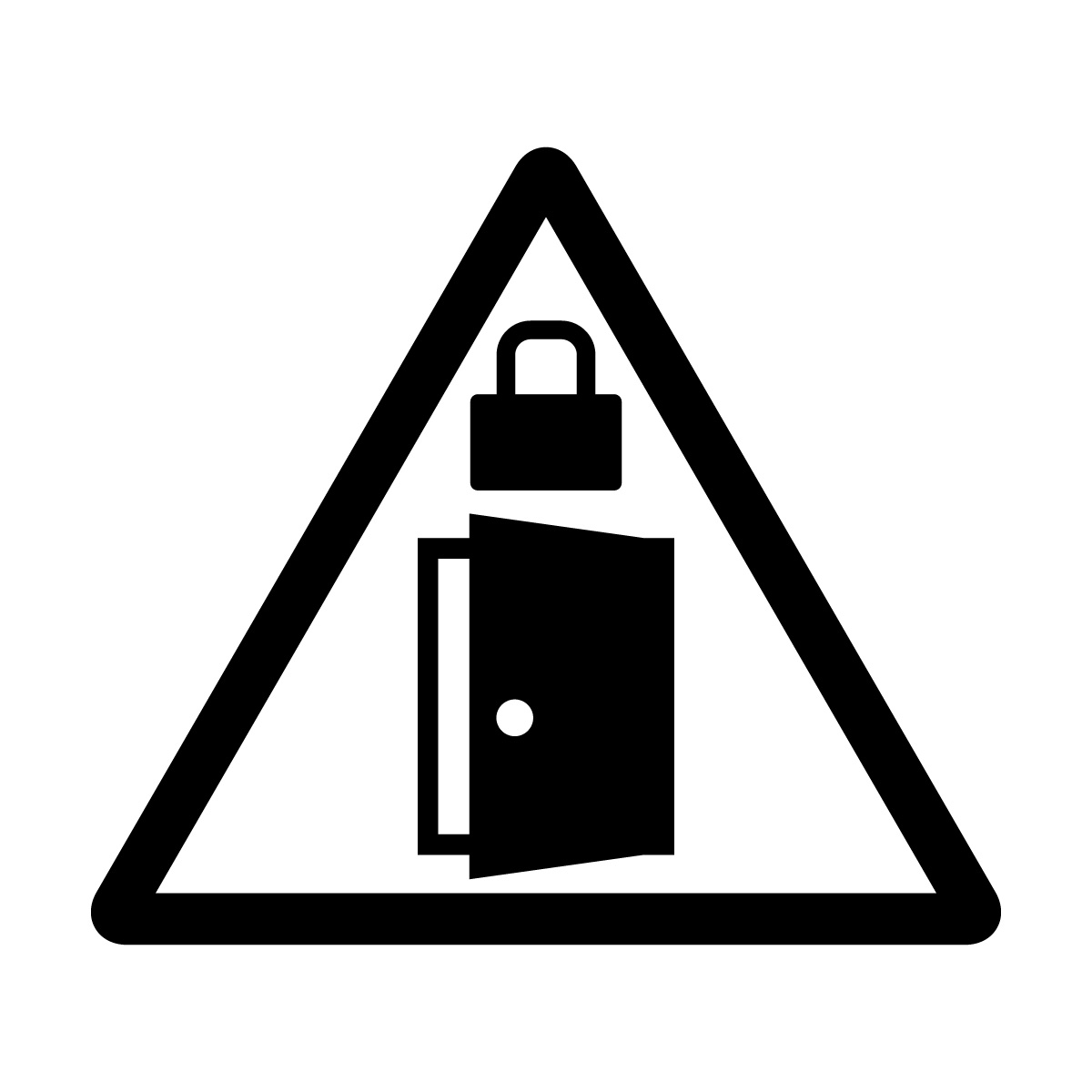 黒色の扉・ドアの施錠注意 鍵掛け マークのカッティングステッカー・シール
