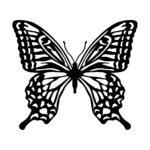 黒色のアゲハ蝶・バタフライのカッティングステッカー・シール