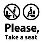 英語 Please, Take a seat(洋式トイレに座って使用のお願い)カッティングステッカー・シール 光沢タイプ・耐水・屋外耐候3~4年