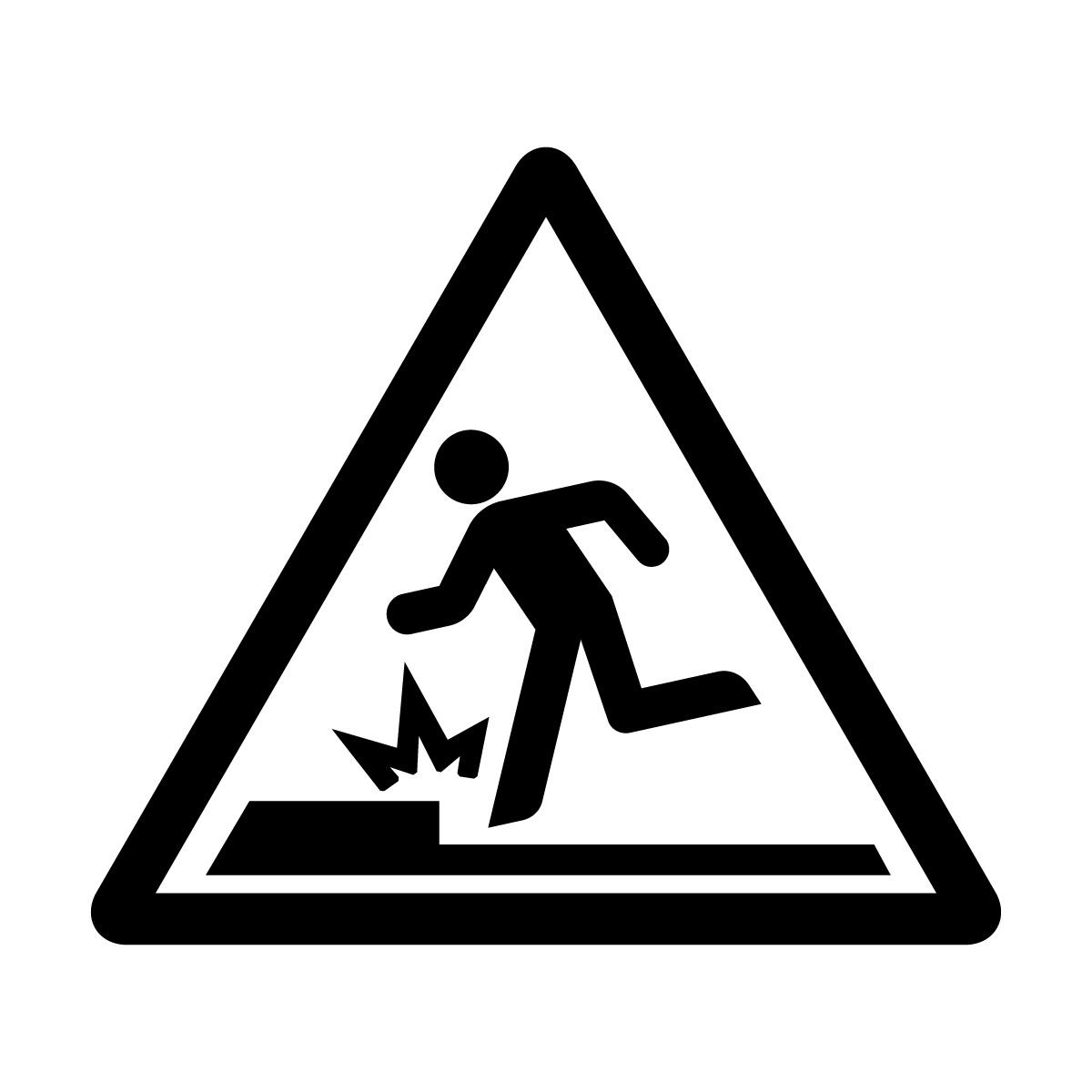 黒色の足元の段差注意標識のカッティングステッカーシール