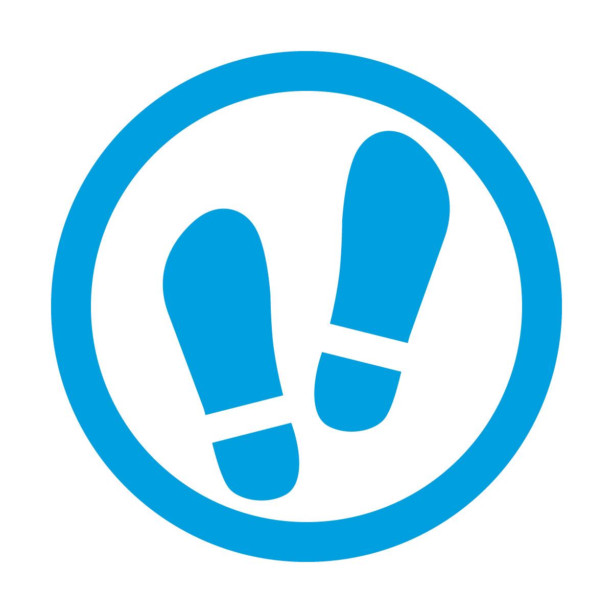 青色の土足OKマークのカッティングシートステッカー