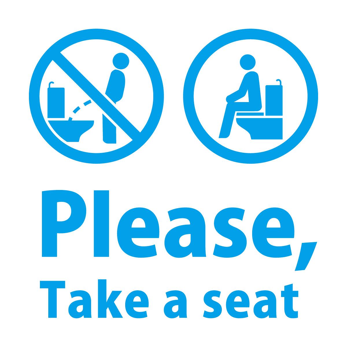 青色の英語 Please, Take a seat(洋式トイレに座って使用のお願い)カッティングステッカー・シール