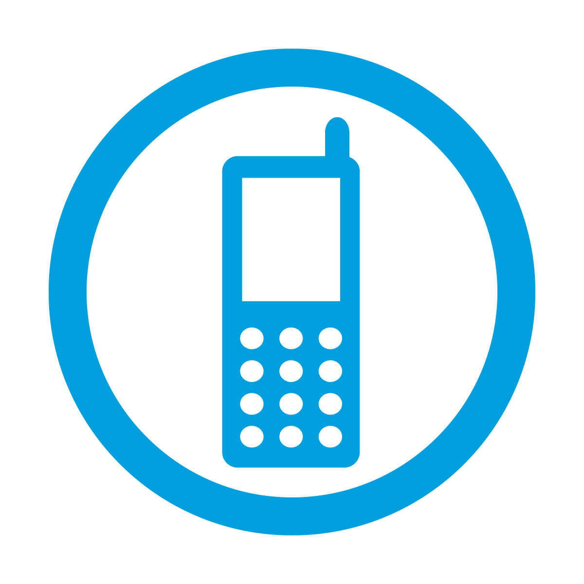 青色の携帯電話の使用許可マークのカッティングステッカーシール