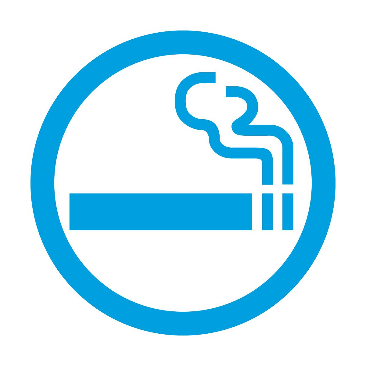 青色の喫煙OKマークのカッティングステッカー