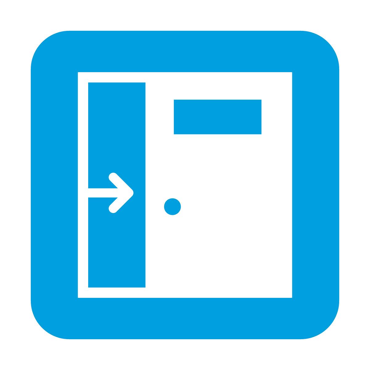 青色の引き戸・スライドドア案内マークのカッティングステッカー・シール