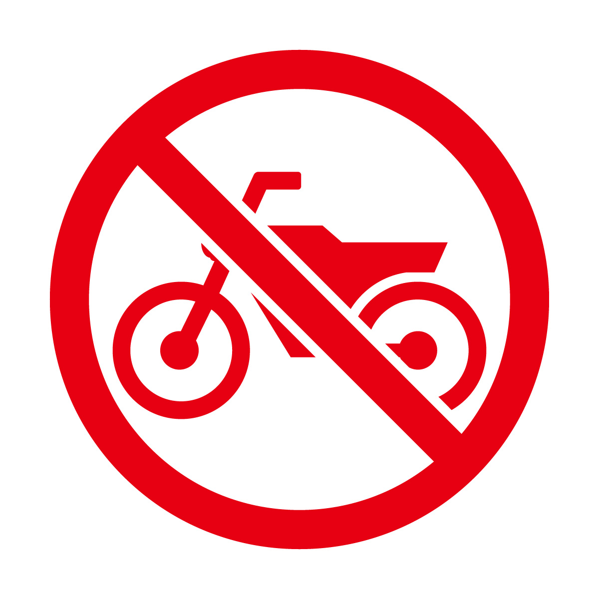 赤色のバイク禁止マークのカッティングシートステッカー