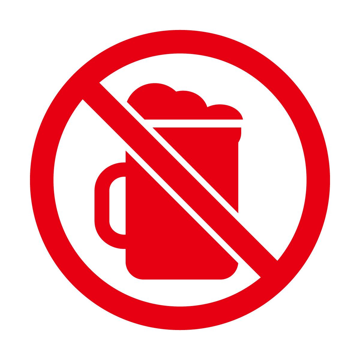 赤色のお酒・ビール禁止マークのカッティングシートステッカー