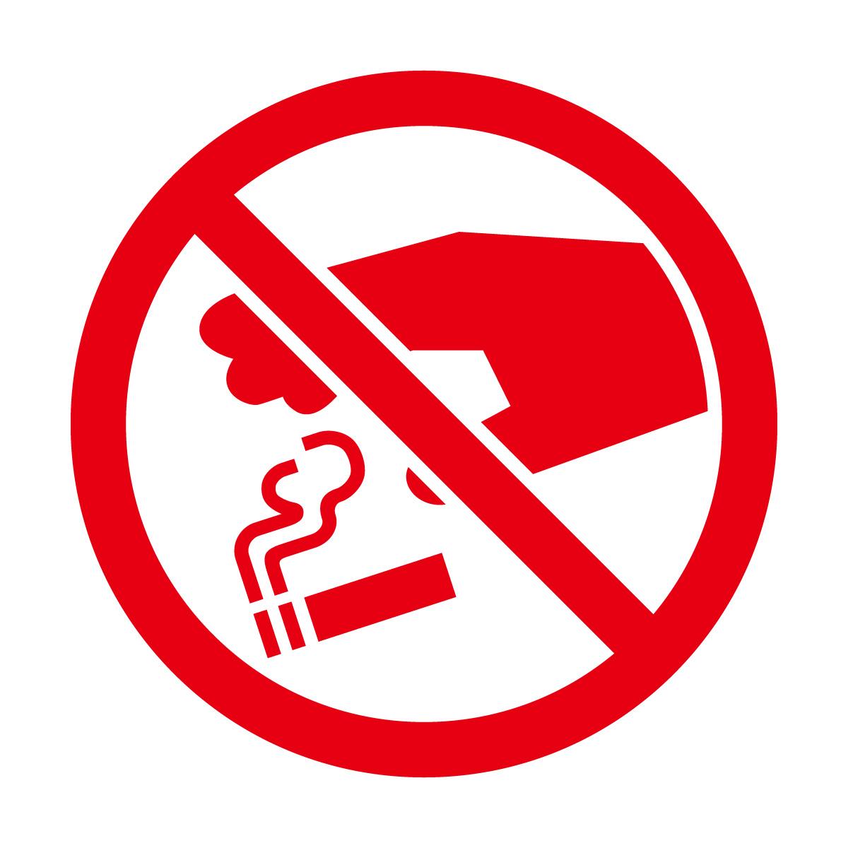 赤色のタバコのポイ捨て禁止マークのカッティングステッカー