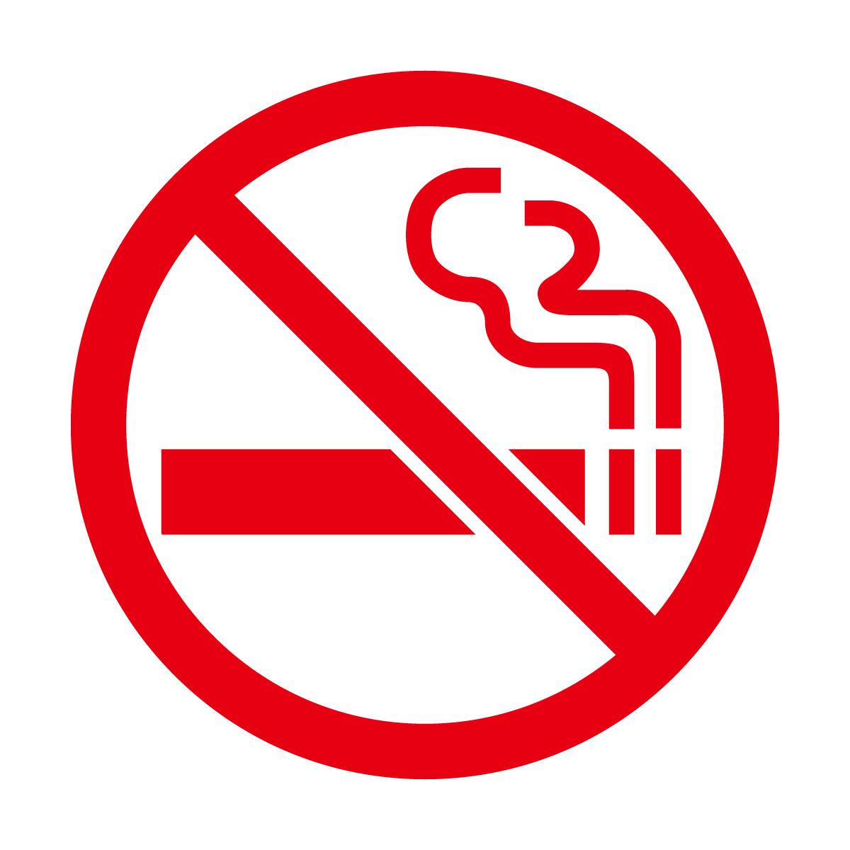 赤色の禁煙マークのカッティングステッカー