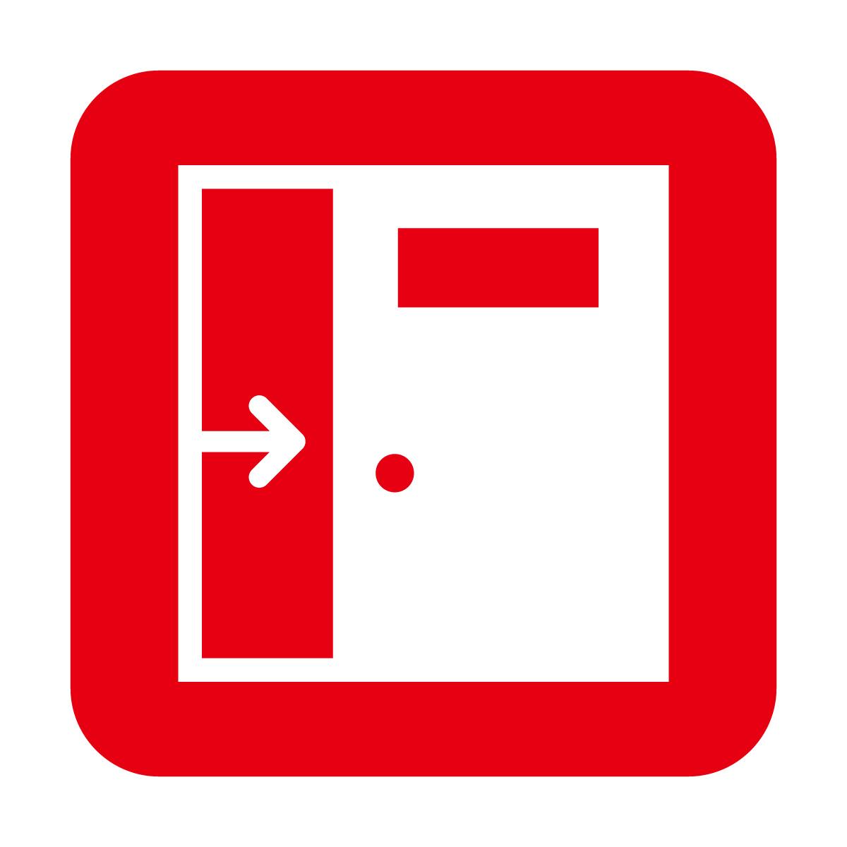 赤色の引き戸・スライドドア案内マークのカッティングステッカー・シール