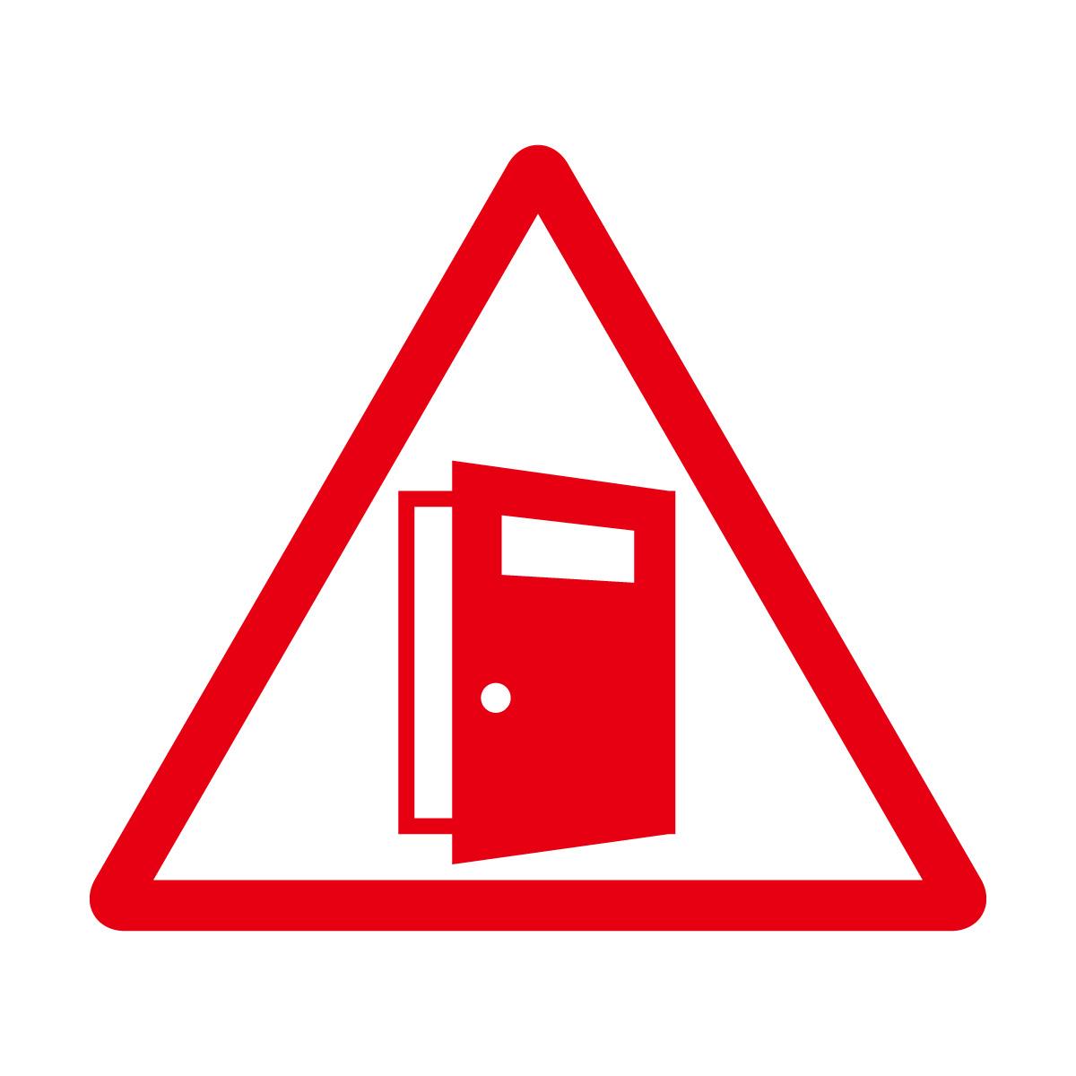 赤色の扉の開放注意マークのカッティングステッカー・シール
