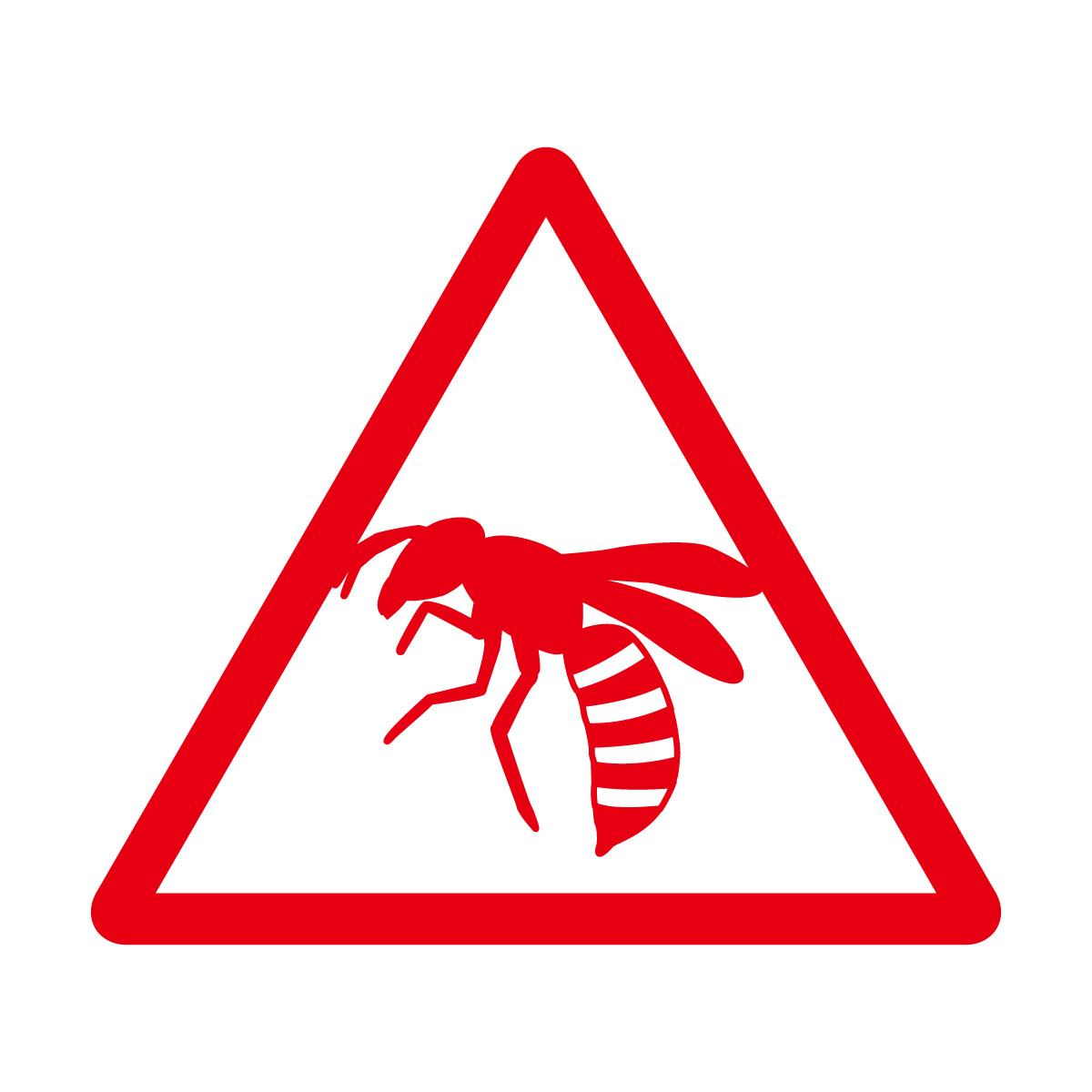 赤色の蜂注意マークのカッティングステッカー・シール