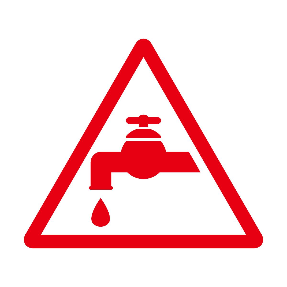 赤色の節水注意マークのカッティングステッカー・シール